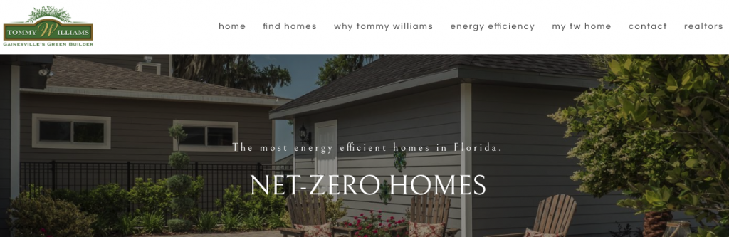 A screenshot of the Tommy Williams Homes homepage, showing their logo, top menu, and tagline.