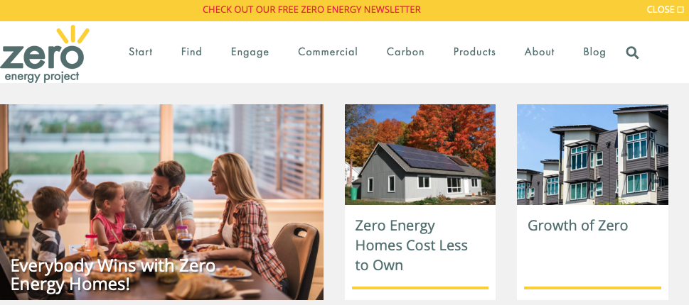 A picture of Zero Energy Project's homepage for our Top 15 Green Building Resources article.
