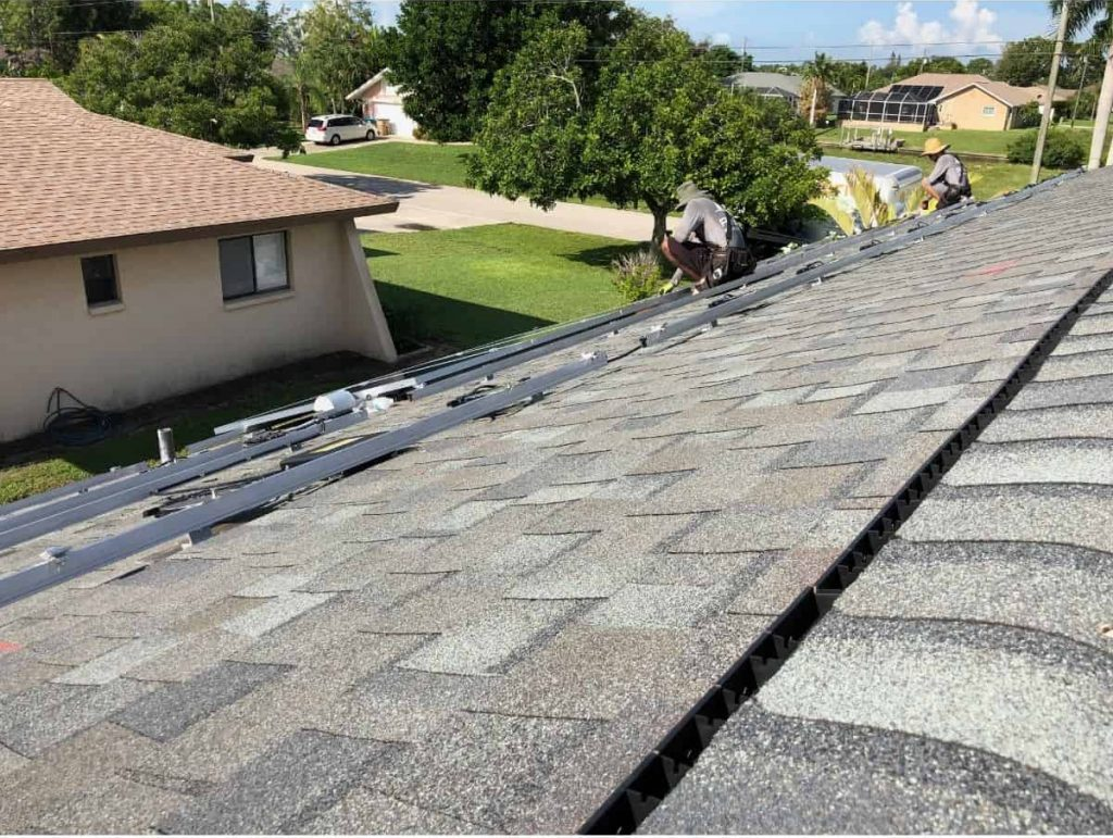 Installing solar panels on roof