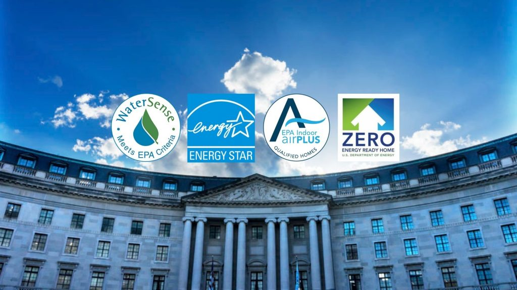 A picture of the U.S. EPA Building with the four energy efficiency program logos