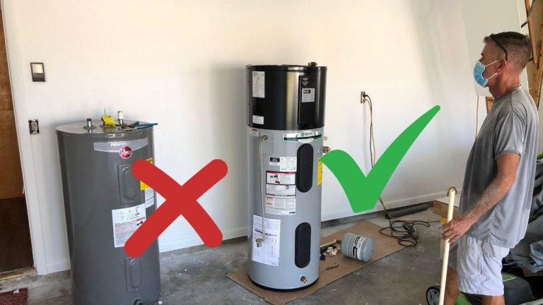 A picture of an old regular hot water heater on the left, and a new hybrid heat pump hot water heater on the right. There is a red X by the old one, and a green check next to the new one, indicating the new one is better for energy efficiency.