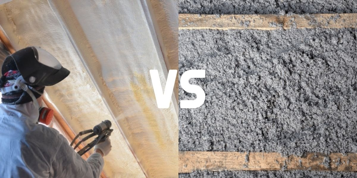A picture of a man spray foaming the attic ceiling on the left side, and a picture of a close up with grey fibers showing blown in cellulose on the right side of this versus comparison.