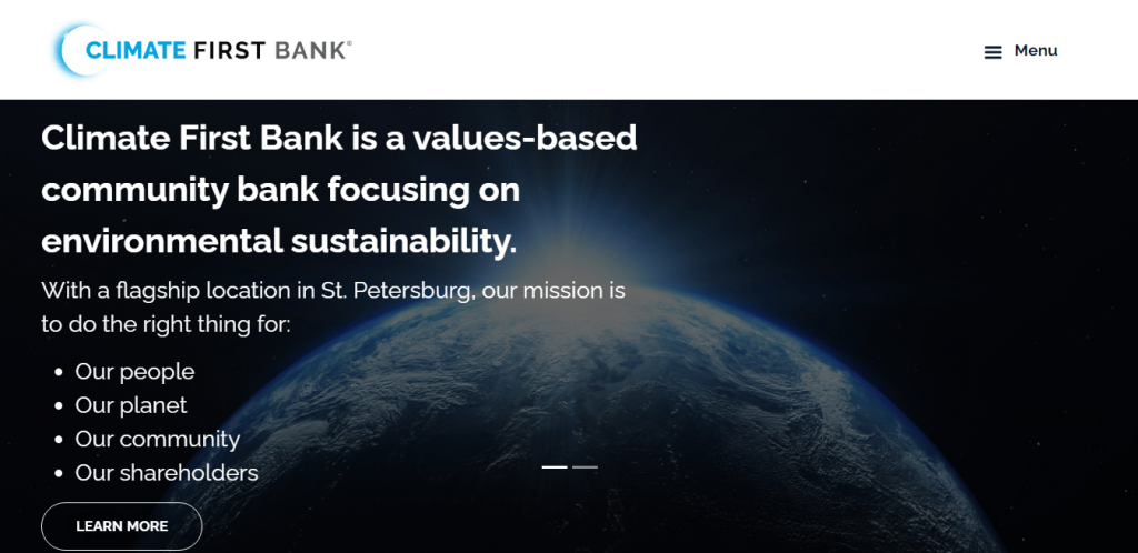 screenshot of the Climate First Bank homepage, a great source for solar financing