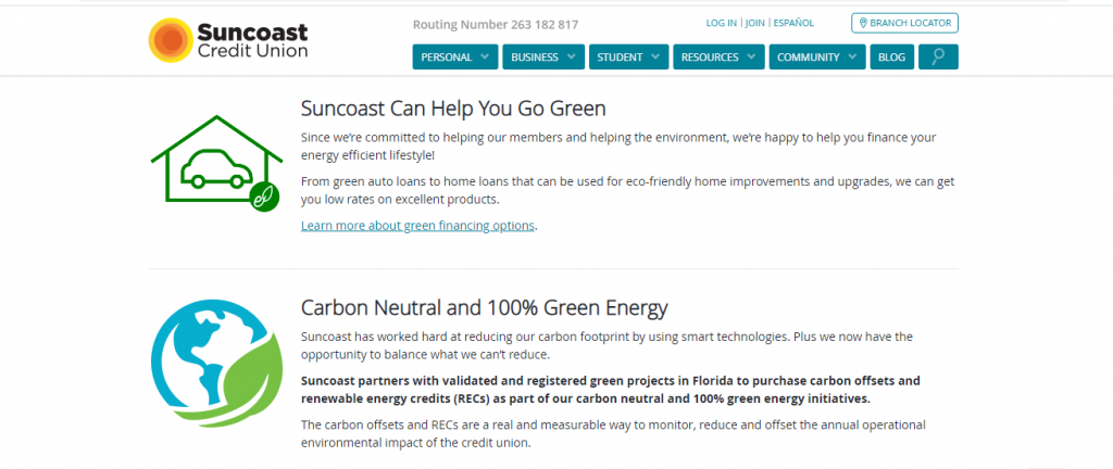 Screenshot of Suncoast Credit Union website with green financing options for solar financing