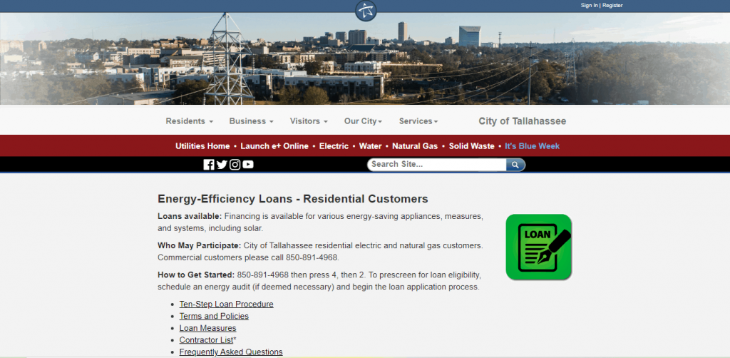 Screenshot of the City of Tallahassee web page for residential energy efficiency loans for solar financing.