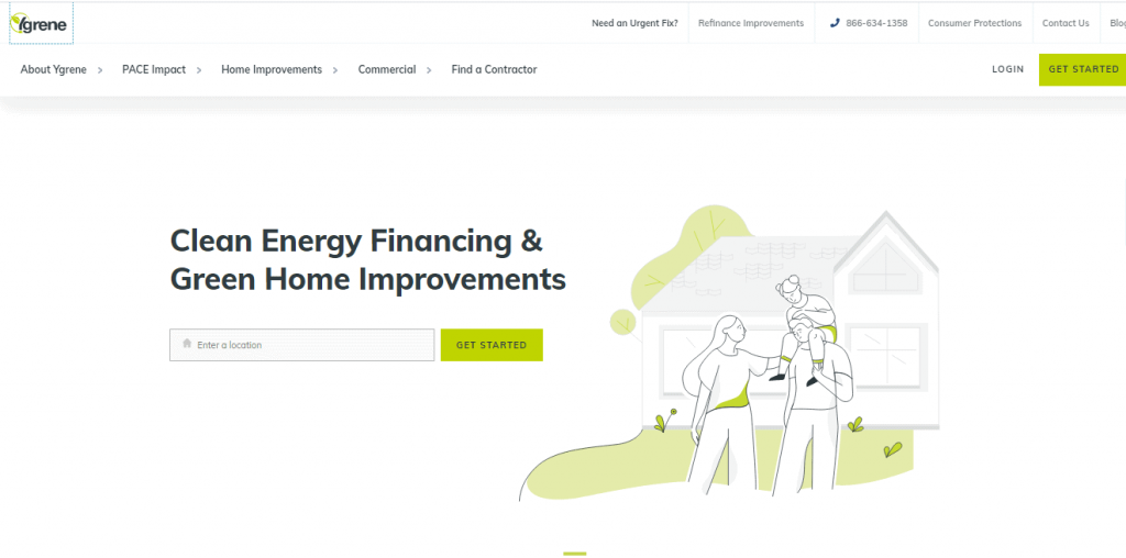 Screenshot of the YGrene web page for Clean Energy Financing and Green Home Improvements