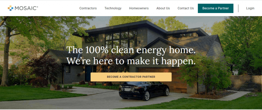 Screenshot of the Mosaic homepage, a financing company for clean energy