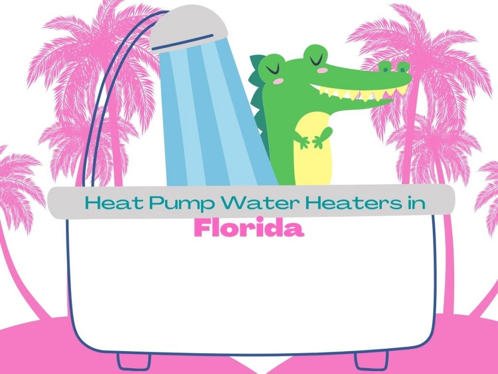 """Graphic of a crocodile in the shower with pink palm trees in the background and the caption """"Heat Pump Water Heaters in Florida"""""""