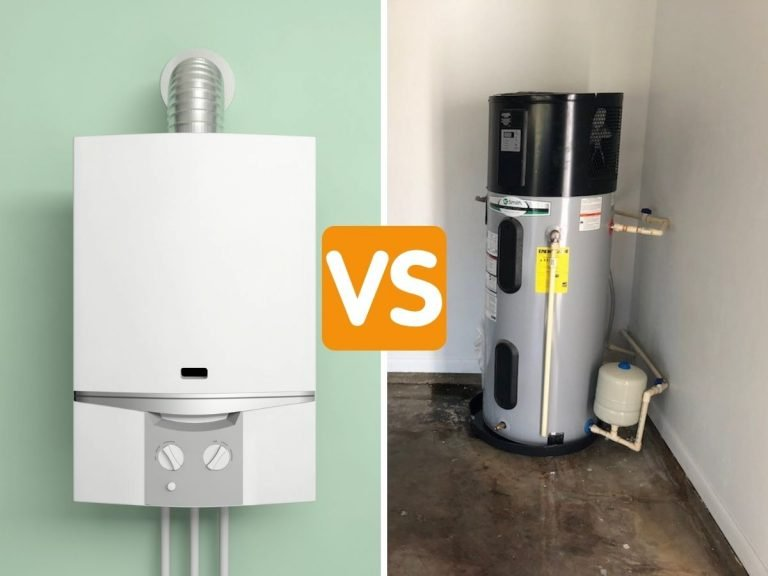 """Side-by-side photo of a tankless water heater mounted on a wall and a heat pump water heater installed in a garage with the caption """"versus"""""""