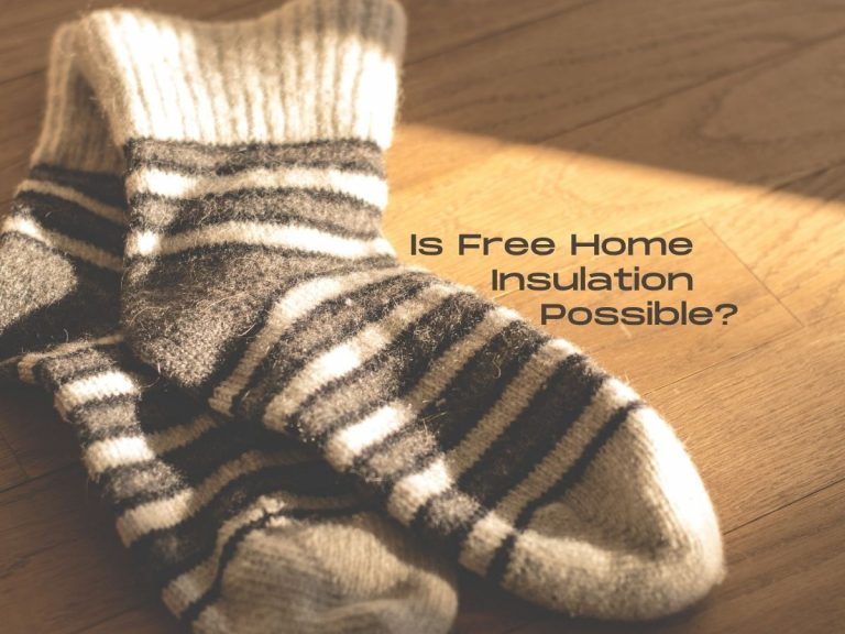 """Photo of a pair of cozy striped socks on a wooden floor illuminated by sunlight with the caption """"Is Free Home Insulation Possible?"""""""