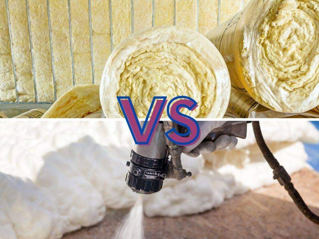 """Two photos depicting Rockwool insulation and spray foam insulation in one frame with the caption """"versus"""""""
