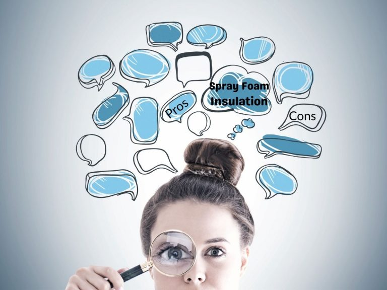 """Closeup photo of a woman holding a magnifying glass with cartoon word balloons around her head the read """"spray foam insulation"""" """"pros"""" and """"cons."""""""