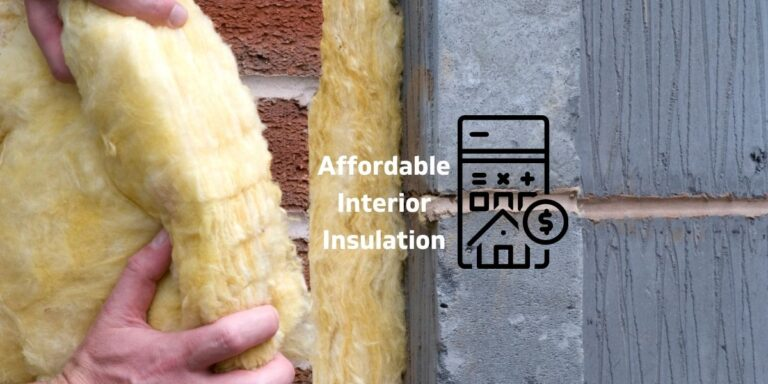 """Photo of hands installing insulation inside a wall with a graphic representing money savings and the caption """"affordable interior insulation"""""""
