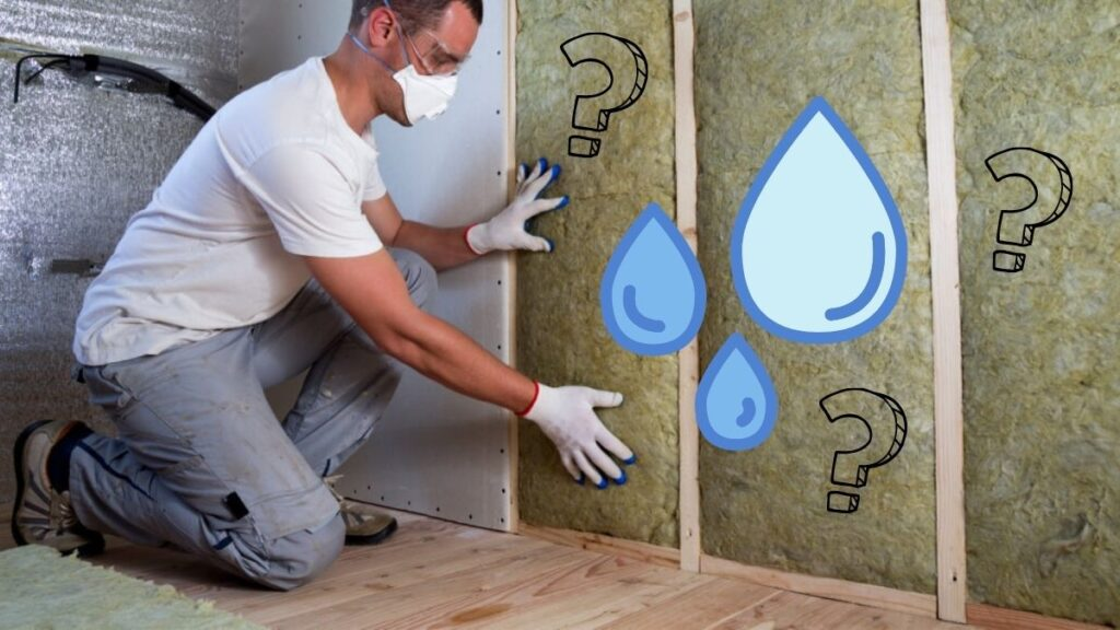 A man working on insulation in the wall, with a water symbol and question marks to the right of him.