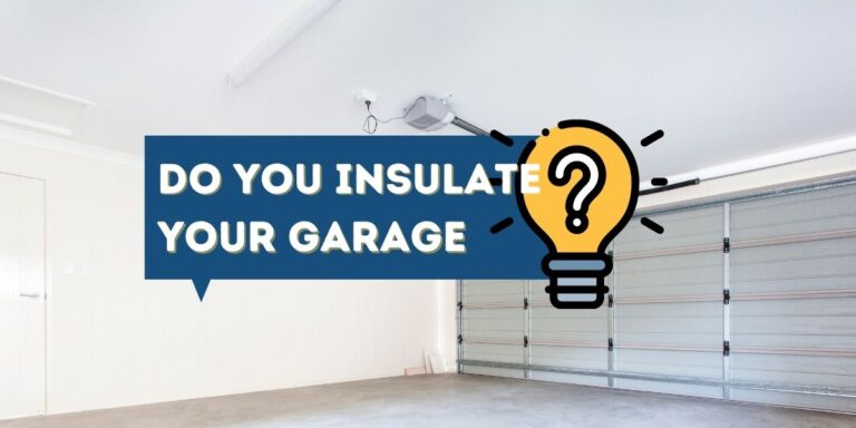A picture of a brightly lit bare residential garage with the words Do You Insulate Your Garage? written on top of it.