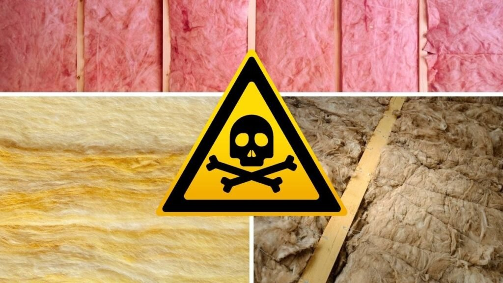 A picture of fiberglass, cellulose, and spray foam insulation in boxes, with a toxic skull symbol overtop all of them in the middle.