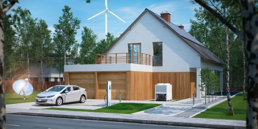 a picture of a solar home with a wind turbine in the background, and an electric car plugged in sitting in the driveway.