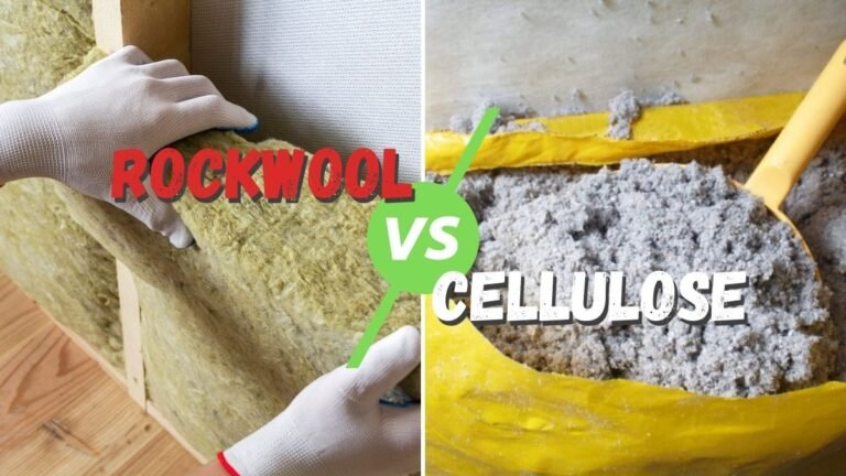 A split picture showing Rockwool insulation on the left side, and Cellulose insulation in a bag on the right with the words Rockwool vs. Cellulose written in the middle.
