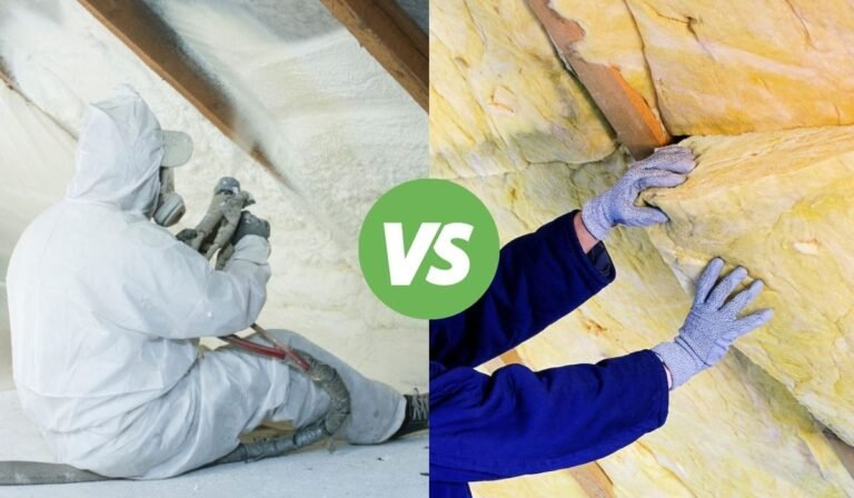 A split image with a man on the left side spraying spray foam insulation, and a person on the right side installing fiberglass insulation batts.