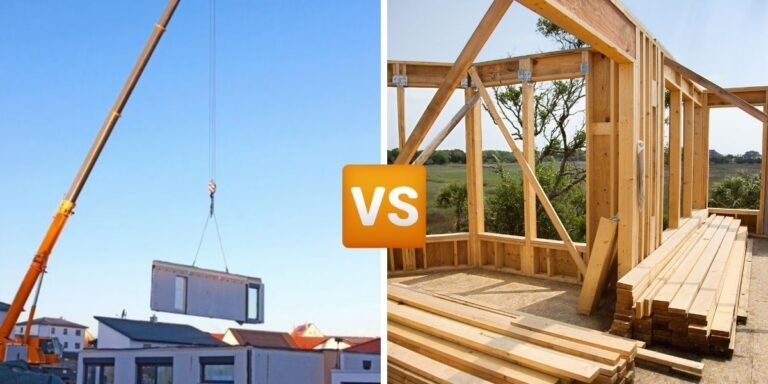 """Side-by-side photos of modular/prefabricated construction and traditional construction with a """"versus"""" graphic in the middle for prefab ADUs vs site-built ones."""